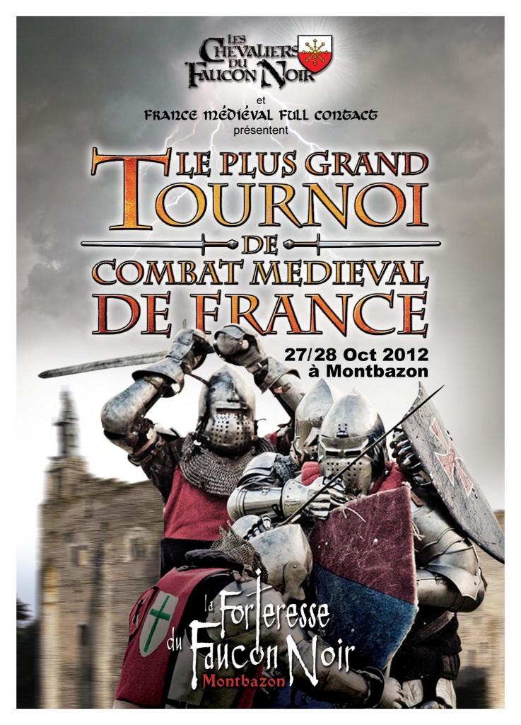 Donjon de Montbazon, faucon noir, combat médiéval, full contact