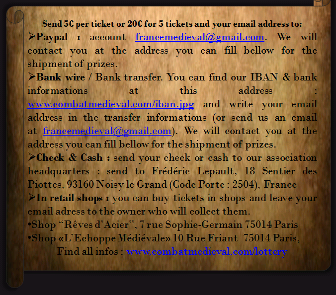 paymentmethodsen ONLINE MEDIEVAL LOTTERY WINTER IS COMING   BUY 1 TICKET = 1 CHANCE TO WIN EACH PRIZE